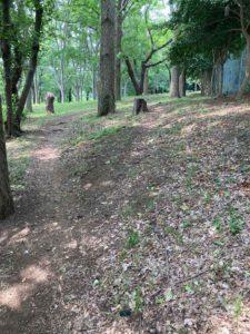 土の地面のジョギングコース