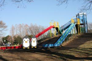 水元公園のすべり台と複合遊具