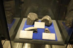 生命の星・地球博物館に展示している隕石の展示