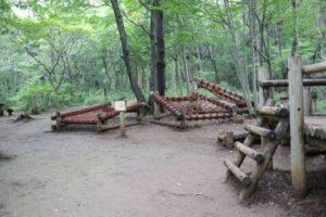 野山北公園のあそびの森のアスレチック