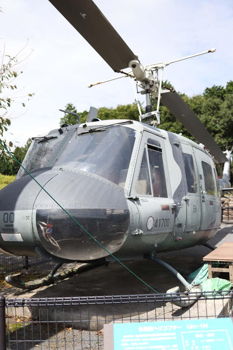 自衛隊のヘリコプターの展示