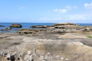 観音崎公園の前にある磯遊びができる海岸