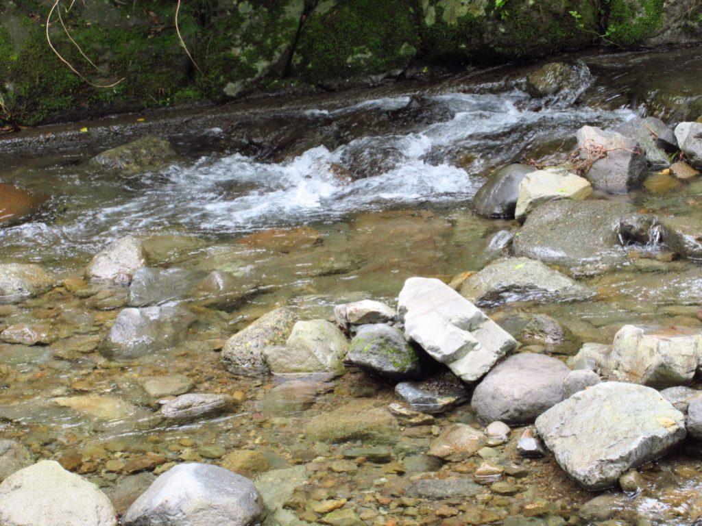 天使の森オートキャンプ場のサイト前の川