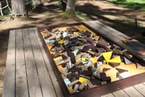 富士すばるランドのどんぐりランドにある木製のパズル