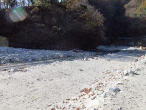 西丹沢大滝キャンプ場の川沿いにあるフリーサイト