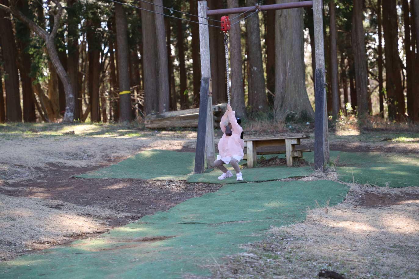 昭和の森のアスレチックのターザン