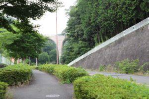 七沢森林公園の中央口駐車場から公園を見た景色