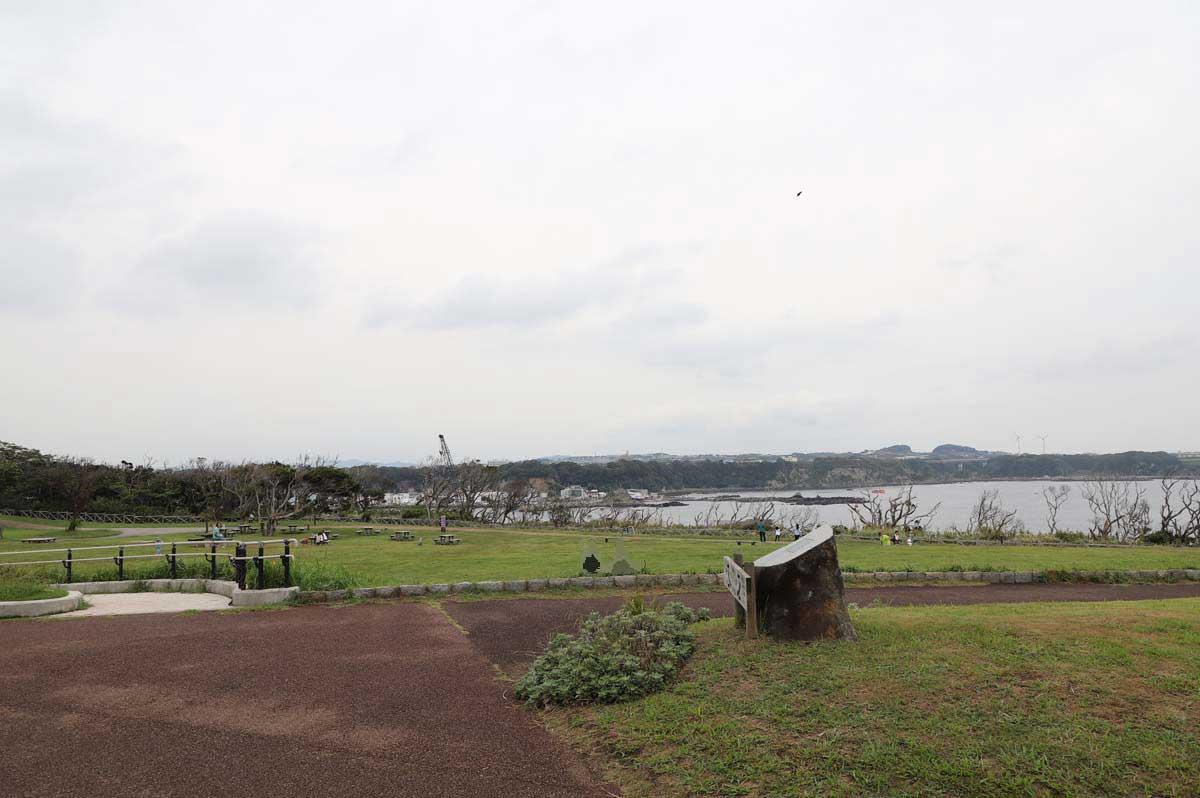 芝生広場とその先に見える海