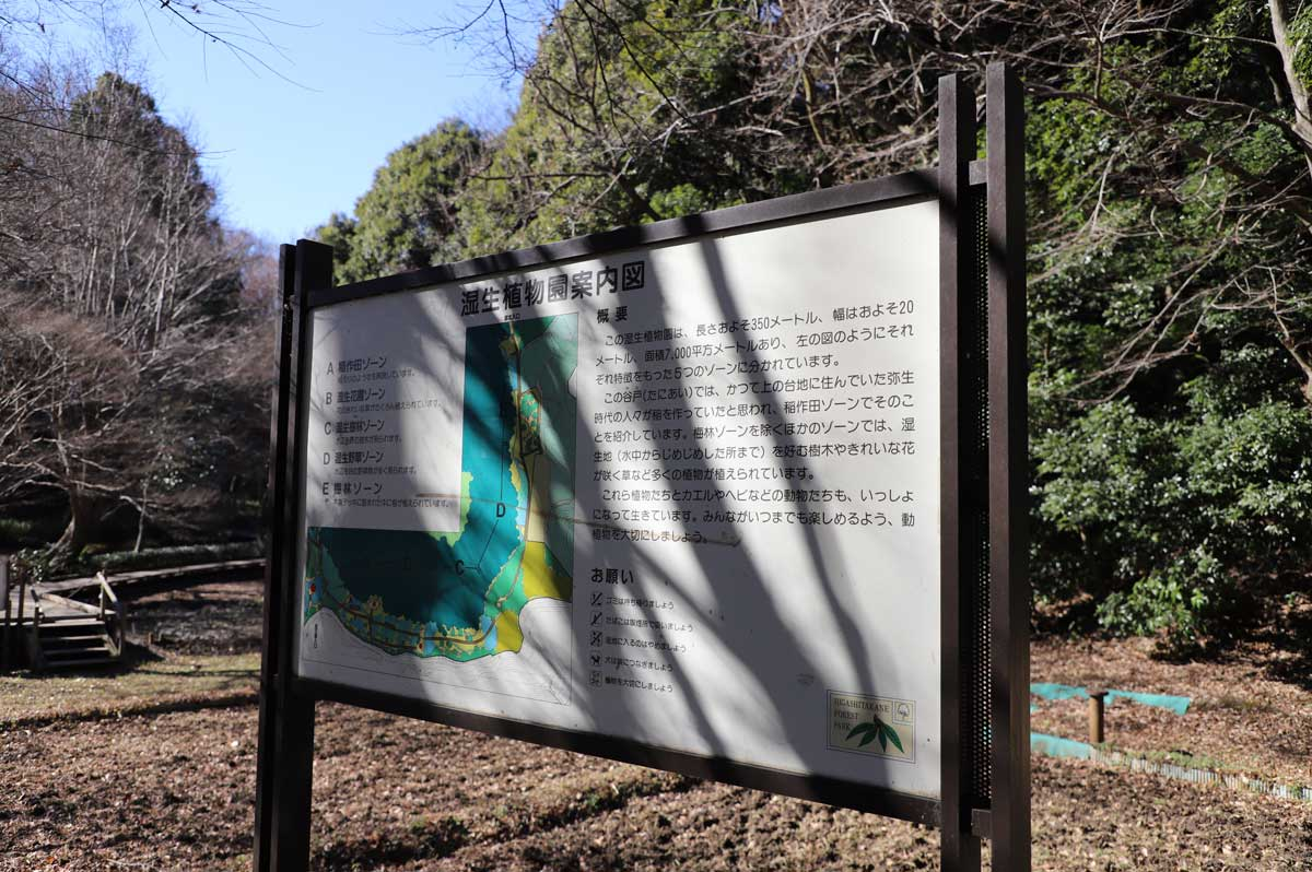 湿生植物園の案内板